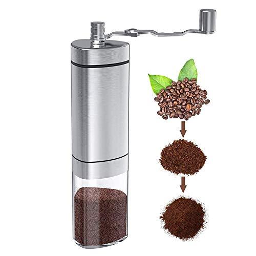Handmatige koffiemolen met instelbare instelling, draagbare handbrander koffiemolen voor Espresso, Aeropress, druppelkoffie, Franse pers, Turkse brouwsel, conische braammolen en geborsteld roestvrij staal