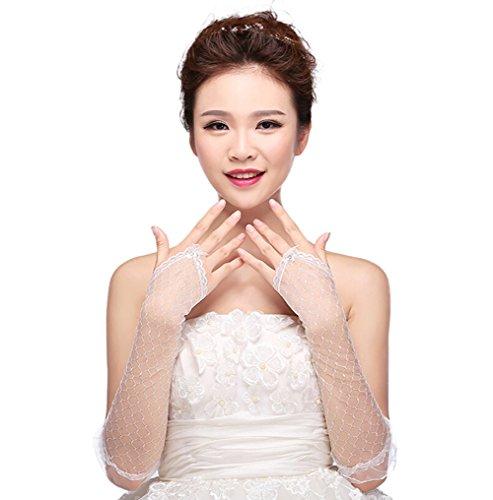 Doitsa 1 Paar Handschuhe Satin Hollow Gitter Spitzenhandschuhe Damen Elegant Fingerlose Brauthandschuhe (Creme)