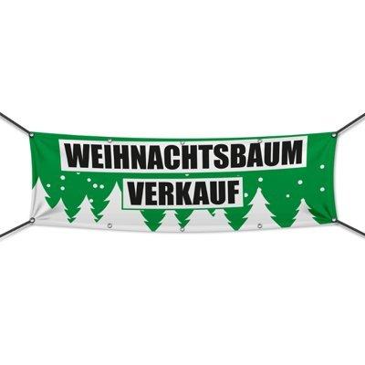 (PVC) Weihnachtsbaumverkauf grün Banner, Plane, Werbeschild, Weihnachten, Werbebanner, 200 x 75 cm, DRUCKUNDSO