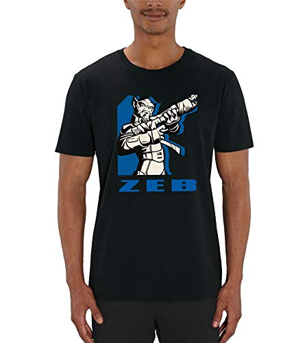 Star War Rebels Blue Printed Zeb Men's Black T-Shirt