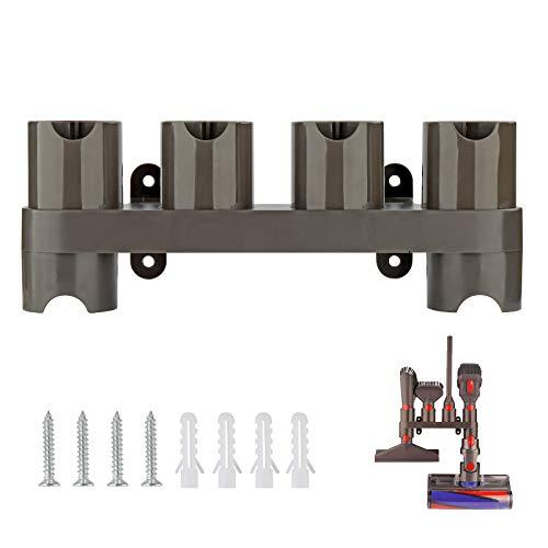 AINUO Soporte de Montaje en Pared para Accesorios de Aspiradora Dyson V8 V7 V10 V11, Soporte Organizador de Accesorios Dyson (6 Enchufes de Almacenamiento)