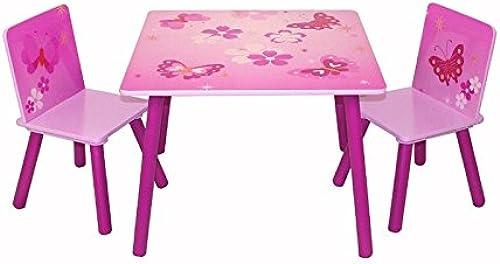 Décoshop26 Table avec 2 chaises pour Enfant Motif Papillon Rose APE06009