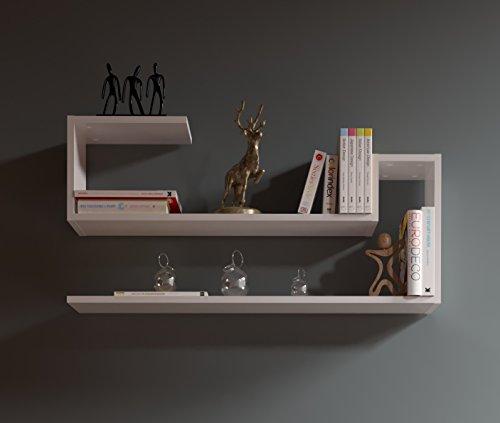 WAVE Mensola da muro - Mensola Parete - Mensola Libreria - Scaffale pensile per studio / soggiorno in Design moderno (Bianco)