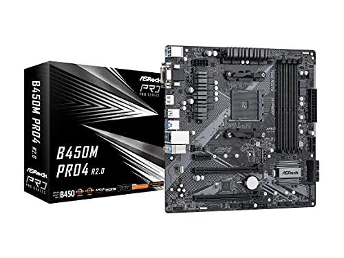 ASRock B450M PRO4 R2.0 AM4 AMD Promontory B450 SATA 6Gb/s Micro ATX AMD Motherboard