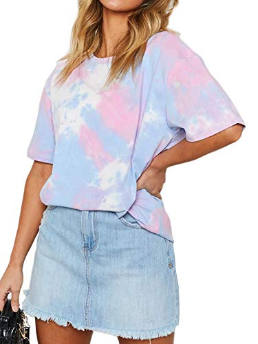 Eliacher Tie Dye Shirt Women Cotton Oversized Shirts Tees Mini Dress (L, Purple, Blue and White)