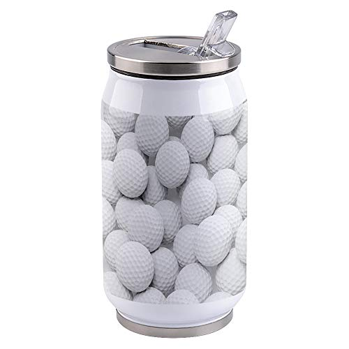 10oz Stainless Steel Liner Vacuum Tumbler White Golf Thermal Insulation Vacuum Cup with Straw & Slider Lid Sport Theme Portable Cola Can for Travel, Sports, Camping
