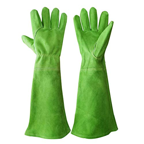 Rose Pruning Gloves for Women Long Sleeve Thorn Proof Cowhide Leather Gardening Gloves Gauntlet Garden Gloves (Large, Green)