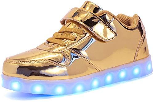 Aizeroth-UK LED Scarpe Sportive per Bambini Ragazze e Ragazzi 7 Colori USB Carica Lampeggiante Luminosi Running Sneakers Traspirante Basso Ultraleggero Sport Baskets Shoes … (30 EU, Blu)