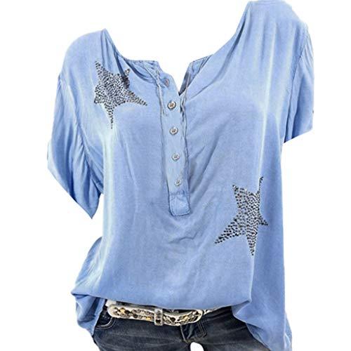 Camisa de Manga Corta de Botón de Mujer