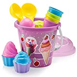Top Race Beach Toys, Sand Toys, 16 Piece Ice Cream Mold Set for Kids 3-10 with Large 9' Beach Toy Bucket Pail for Kids and Toddlers (Pink)