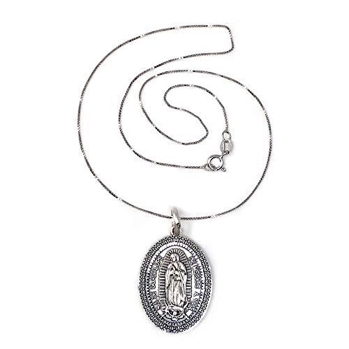 Colgante Plata Ley 925M Virgen Guadalupe México 29mm. Ovalada Cadena 40cm. Veneciana Rodiada Reasa - Personalizable - Grabación Incluida En El Precio