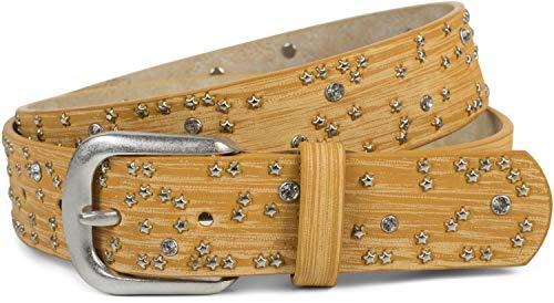 styleBREAKER Damen Gürtel mit Sternchen Nieten und Strass, Oberfläche in Pinselstrich Optik, Vintage Nietengürtel, kürzbar 03010096, Farbe:Senf, Größe:85cm