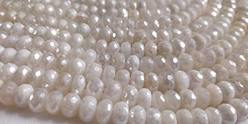 Silverit Rondelle/natürlicher Silberit Edelstein Rondelle Beads/Silverit facettierte Rondelle Beads/Silverite Edelstein-Perlen/7 mm/20 cm Strang