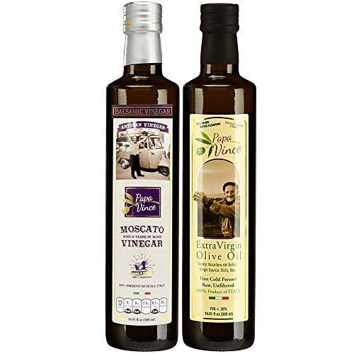 Papa Vince Extra Virgin Olive Oil & Balsamic Set - EVOO First Cold Pressed Dec 2019/20, Vinegar Aged 8-years in wood made by our family in Sicily, Italy, KETO, PALEO, VEGAN - 16.91 oz each