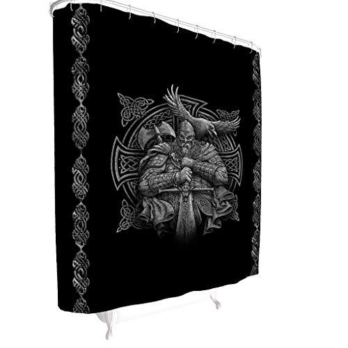 BOBONC Viking Odin Bedruckt Duschvorhänge Anti-Schimmel Wasserdichtes Design Shower Curtain Bad Vorhang für Badezimmer White 91x180cm