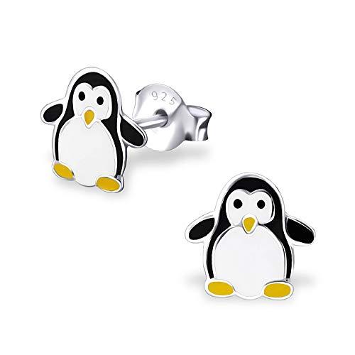 Monkimau Orecchini da bambina con pinguino Orecchini realizzati in argento sterling 925