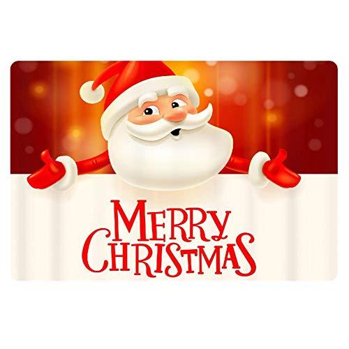 FKELYI Welcome Hello Doormat Rubber Backing Door Mat Funny Merry Christmas Santa Claus Doormats Indoor Outdoor Front Area Rugs Dirty Dog Cat Doormat