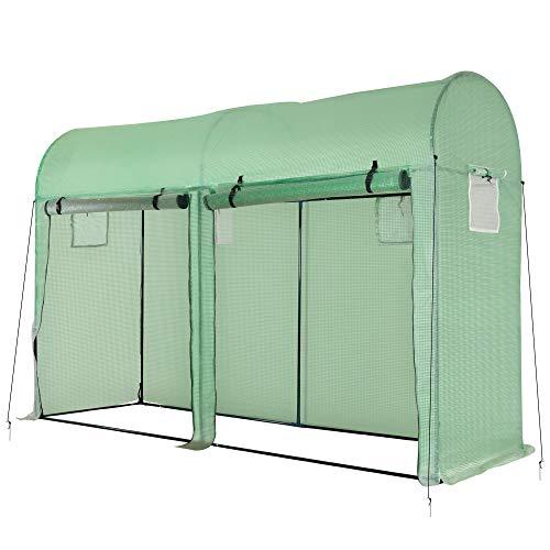 Outsunny Invernadero 300x100x200 cm Caseta de Jardín Invernadero con 4 Ventanas y 2 Puertas para Cultivos Plantas Flores de PE y Acero Verde