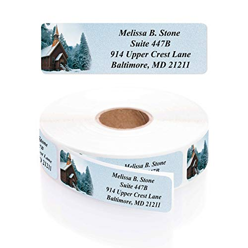 Church in Snow Holiday Rolled Return Address Labels with Elegant Plastic Dispenser - 250 Labels Per Roll