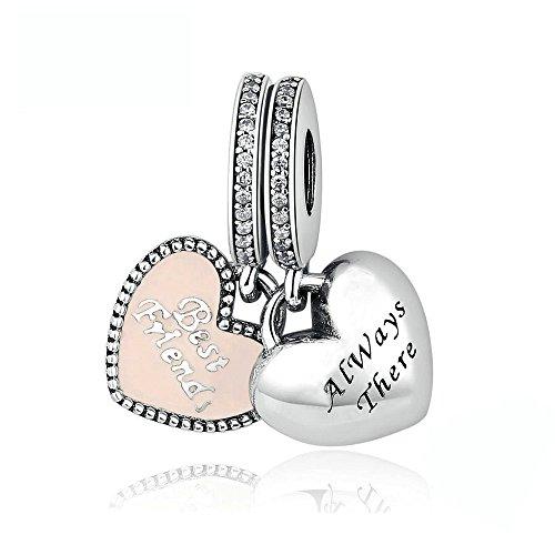"""Funshopp - Charm in argento 925 con smalto rosa delicato, motivo """"Best friends"""", compatibile con braccialetti Pandora"""