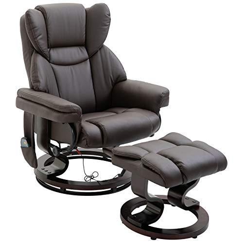 HOMCOM Massagesessel mit Fußhocker Relaxsessel Heizfunktion 135°-Neigung PU Braun 79 x 82 x 101 cm