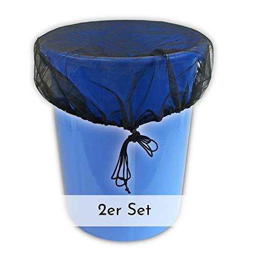Vendix 2X Abdeckung für Regentonne rund Ø 95 cm - Regentonnen-Netz mit Zugkordel - Schutz vor Laub, Stechmücken & Mückenlarven