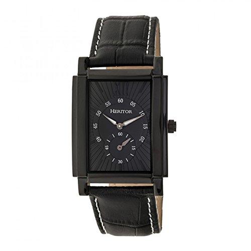 Heritor Frederick HERHR6106 Herren-Armbanduhr, Automatik, Echtleder, Schwarz