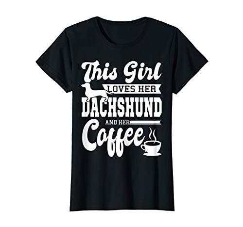 Damen Dackel Kaffee Hund Dachshund Hunde Liebhaber Mama Niedlich T-Shirt