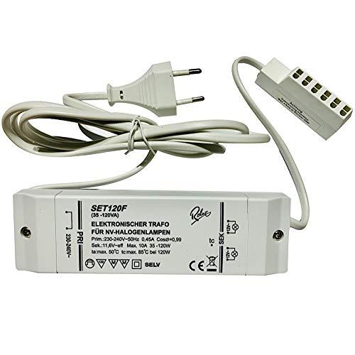 Elektronischer Halogen Transformator Trafo 120Watt inkl. AMP Verteiler und 230V Zuleitung Leistungsbereich: 35 bis 120Watt