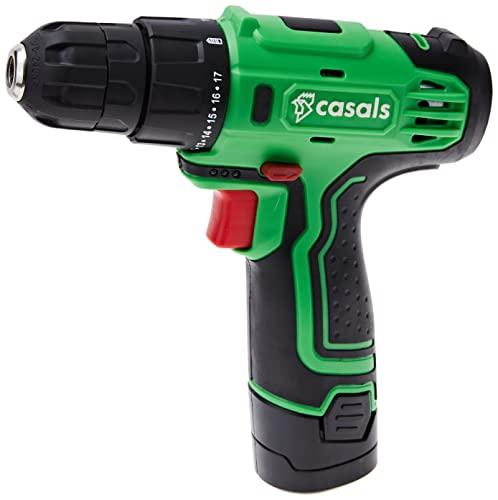CASALS C01287000 Taladro Atornillador a batería, 12 V, Negro, Verde