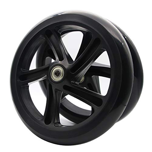 Z-FIRST 2PCS 200mm Adult Scooter Wheels with ABEC 9 Bearings for Razor and Adult Kick Scooters (Black)