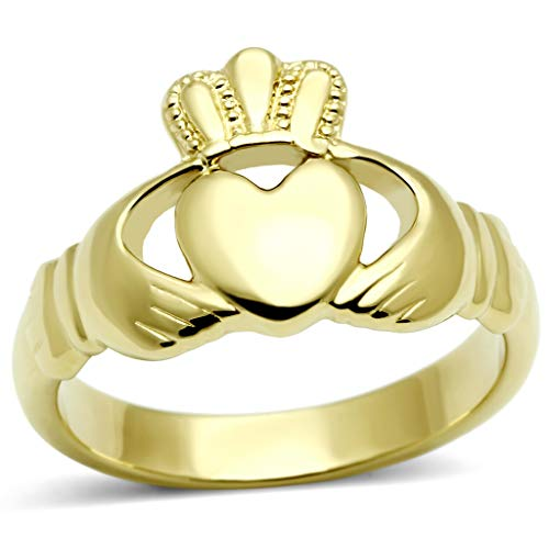 ETERNAL SPARKLES Women's Claddagh Celtic Irish Fashion Comfort Statement Love Ring in 14K Gold Plated Stainless Steel