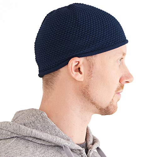 Sombrero Hombre Gorro Kufi Hat - Sombrero Calavera 100% Algodón Crochet Chemio Muslim Beanie Hat Navy
