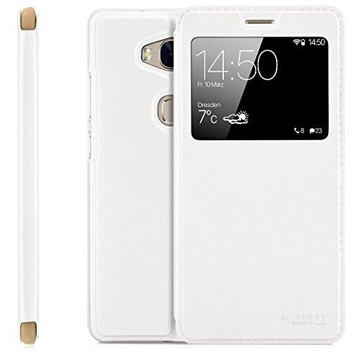 Zanasta Designs Custodia Compatibile con Huawei P9 Lite Cover Flip Wallet Case Copertura con Finestra Vista, Protezione della Fotocamera Bianco