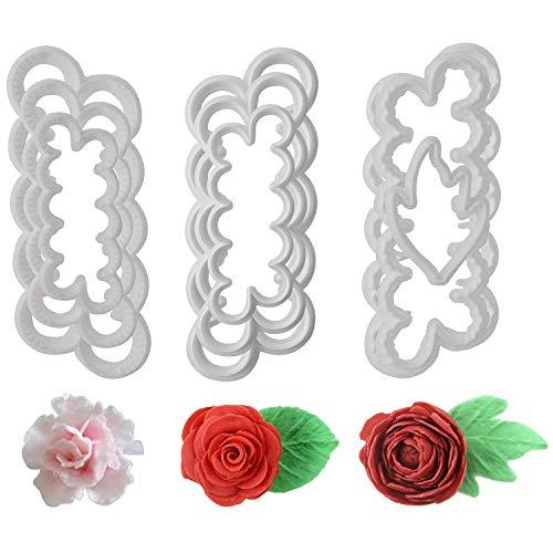 Fyuan Molding Roses Carnations Peony 3D Petal Cake Cutter Flower Fondant Icing Tool Decorating Mould DIY Baking Accessories, 9pcs