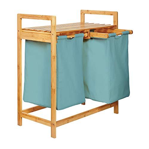 Lumaland Estantería de baño en Bambú con cesto para la Colada - Cesta para Ropa Sucia con 2 compartimientos extraibles - Mueble para el lavadero - 73 x 64 x 33 cm - Azúl Claro