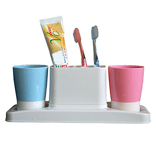 Eslite Bathroom Toothbrush Toothpaste Stand Organizer Plastic Storage Rack Set