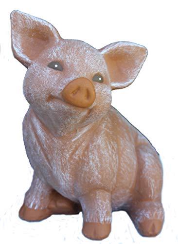 Steinfiguren Spicker Steinfigur Schwein, 127/3 Ferkel, Gartenfigur Steinguss Tierfigur Terrakotta Patina