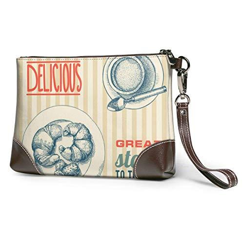 NA Kaffee und Croissant Damen Echtleder Große Quadratische Handgelenk Brieftasche Handytasche Clutch