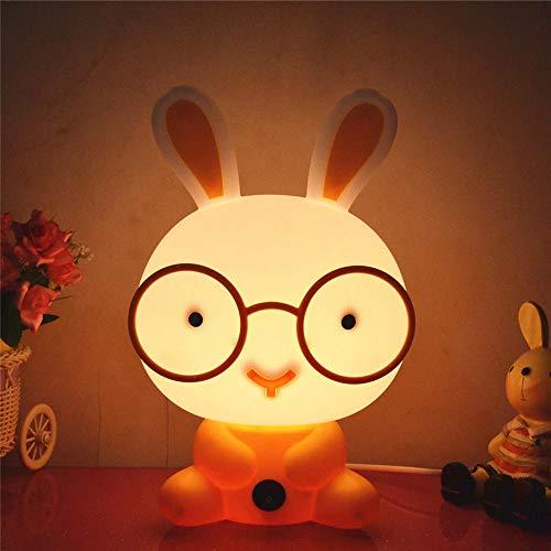 Luz de noche para niños Luz de noche LED, portátil USB recargable Lámpara de mesita de noche de silicona Luz multicolor Hello Kitty Lámpara de noche-convencional-Gafas de conejo rosa