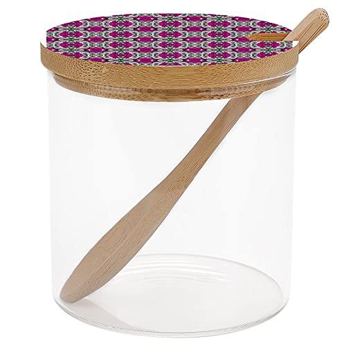 Tarros de especias con diseño de azulejos de color rosa, gris y blanco, recipiente de almacenamiento de condimentos para especias y sal de azúcar, tarros de condimentos con tapa y cuchara