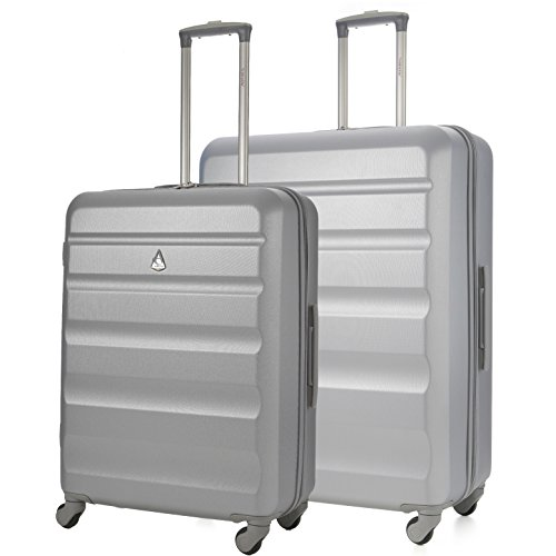 Aerolite Super Lightweight ABS Hard Shell Travel Suitcase Luggage Set with 4 Wheels (Medium + Large, Silver)