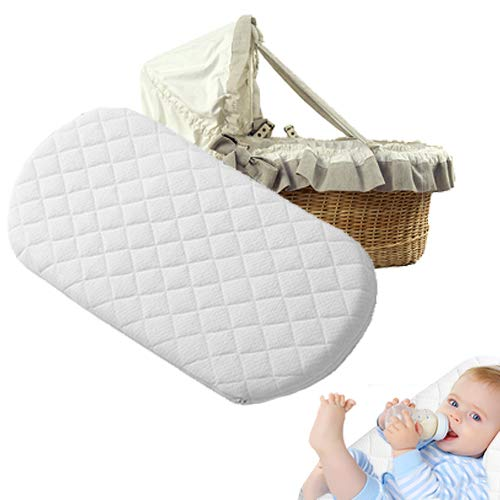 Moses Basket Foam Mattress Microfiber Fits Mamas & Papas and Mothercare Pram Crib Mattress Oval Shaped Bassinet Baskets Washable Quilted Cover Made in UK (76 x 30 x 4)