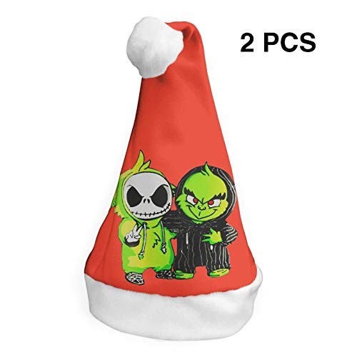 2 Pcs Christmas Hats Grinch Santa Claus Cap Xmas Unique Decoration