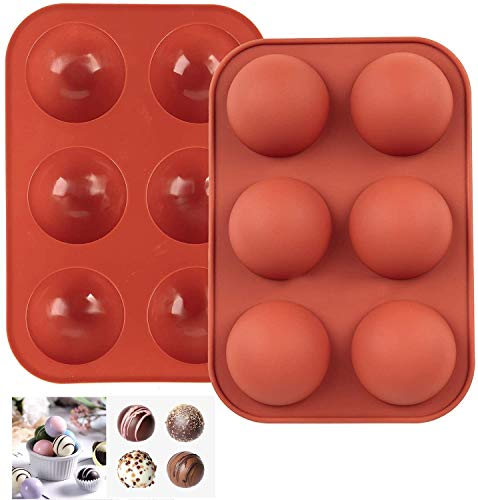 DyKay 6 Holes Medium Semi Sphere Silicone Mold For Chocolate, Cake, Jelly, Pudding, Handmade Soap, Round Shape BPA Free Cupcake Baking Pan,(Brick red,2Pack)