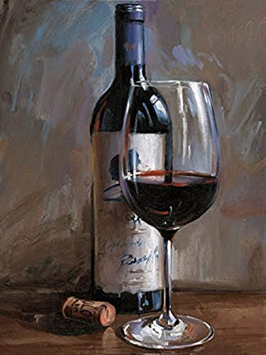 DIY 5D Diamond Painting Red Wine Glass Wine By Number Kits,Painting Cross Stitch Full Drill Crystal Rhinestone Embroidery Pictures Arts Craft for Home Wall Decor Gift (11.8X15.7 In)
