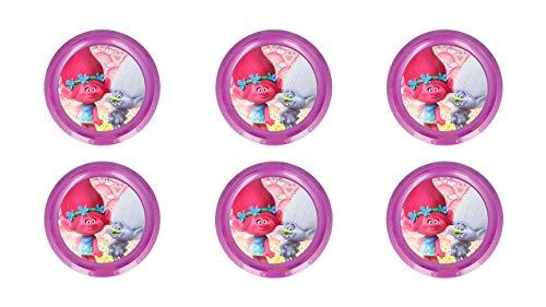 ALMACENESADAN 2178; Pack 6 Platos Reutilizables Trolls; Ideal para Fiestas y cumpleaños; Producto de plástico; No BPA.