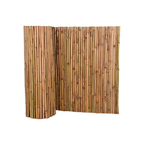 Nature by Kolibri Sichtschutz aus Bambus 80x500cm, Bambusmatte Sichtschutzmatte Windschutz Zaun für Garten Balkon Terrasse