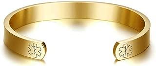 Free Engraving Stainless Steel Medical Alert ID Open Cuff Bangle Bracelet for Men Women,8