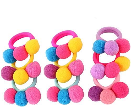 NUOLUX 10 teile / los Kinder Haarbänder Nette Pompom Elastische Haargummis Haar Seile für Mädchen Kinder Haarschmuck (Gelegentliche Farbe)